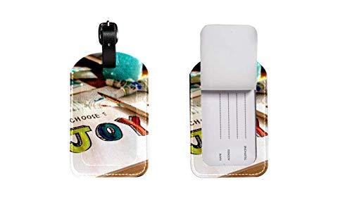 Valigia in pelle PU etichetta bagaglio, regolabile cinturino in pelle antigraffio etichetta, design elegante Brush Happiness Joy grafica