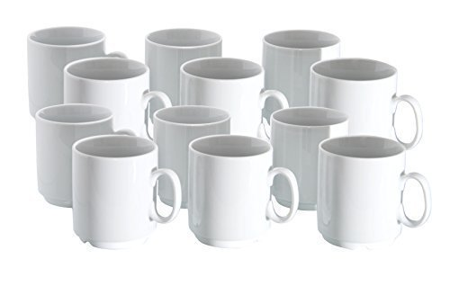 Van well lot de 12 tasses à café en porcelaine professionnel empilable 280 ml blanc