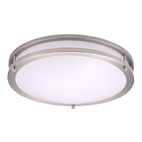 OSTWIN 14 Inch LED Flush Mount Ceiling Light, Dimmable Round Light Fixture, Brushed Nickel Finish, Plastic Shade, 21 Watts (120W Eq.), 1470 Lm, 3000K (Warm White), ETL Listed