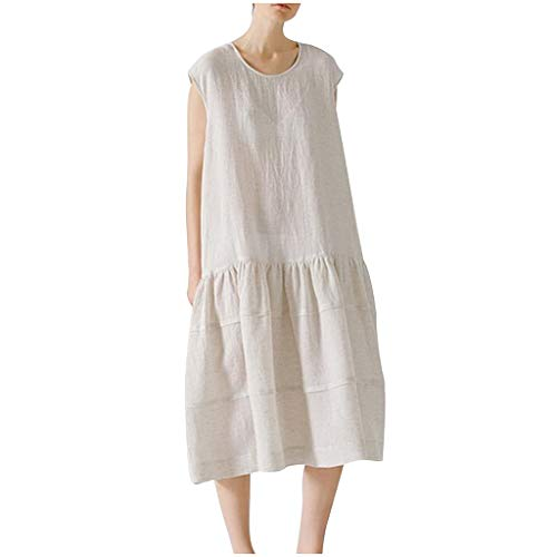 Clearance!! Womens Plus Size Cotton Linen Long Dress, Vintage Casual Solid O-Neck Sleeveless Dress Loose Beach Dress (White, X-Large)