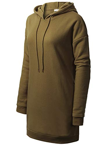 MixMatchy Women's Casual Oversized Long Sleeve Fleece Hoodie Sweatshirts Loose Pullover Tunic (S~3X) Dark Olive LX