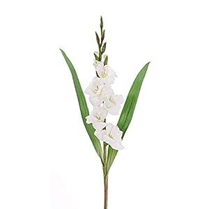 artplants.de Set de 12 x Gladiolo Artificial ELEA, Blanco, 85cm, Ø 3-10cm – Conjunto de gladiolos – Pack de Flores…