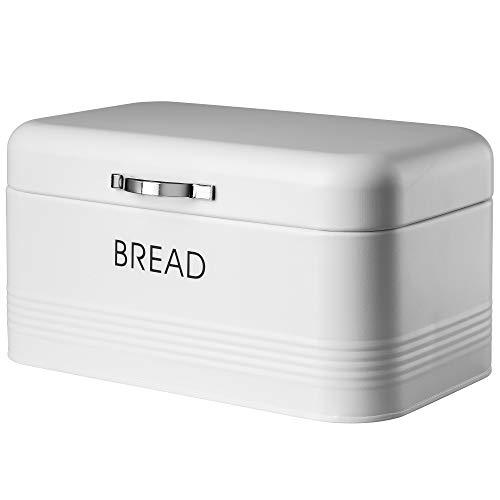 KADAX Brotkasten, Brotbox aus Stahl gebürstet, 30 x 18 x 16 cm, geräumiger Brotbehälter mit dichtem Deckel, für längere frische des Brotes, Brotaufbewahrungsbehälter (Weiß)