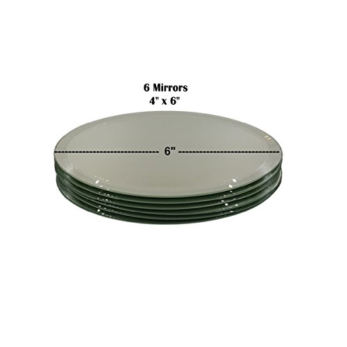 """Set of 3 Beveled Oval Mirrors for Your Crystal Figurines and Other Collectibles (4"""" x 6"""")"""