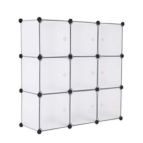 BASTUO 9 Cubos de Almacenamiento DIY Armario Estantería cestas Modular Cubos, Armario para Juguetes, Libros, Ropa, Blanco con Puertas