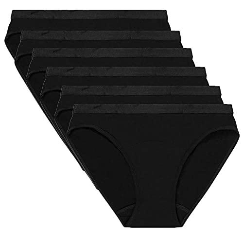 HHSW Bragas De Bikini Pantalones Fisiológicos De Absorción Ensanchada De Algodón A Prueba De Fugas De Cintura Media (4/6 del Paquete)-6 Pzs_Metro