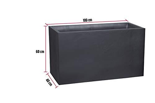 Kreher XL Pflanzkasten rechteckig der Serie Stone in Anthrazit, aus robustem Kunststoff, in verschiedenen Größen (116 L)