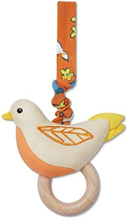 Apple Park Enchanted Leaves Orange Birdie Stroller Baby Toy - for Newborns, Infants, Toddlers - Hypoallergenic, 100% Organic Cotton