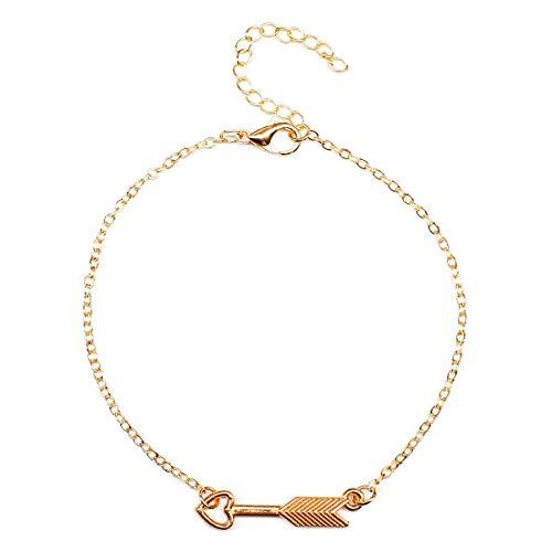CHIY-GBC Simple Creativo Oro Color Metal Flecha geométrica Cadena de pies Tobilleras Mujeres Moda Playa Personalidad Tobillo Pulsera joyería