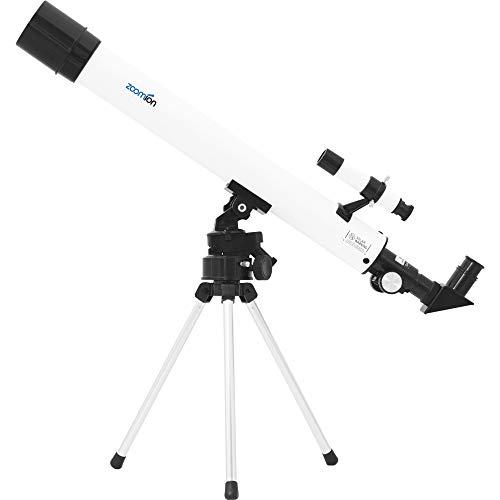 Zoomion Spaceboy 50/500 AZ astronomisches Teleskop Fernrohr für Kinder und Einsteiger Astronomie Set mit Stativ und Zubehör