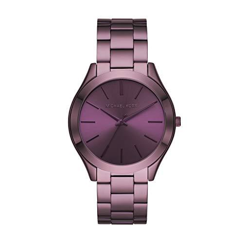 Michael Kors Women's Slim Runway Quartz Watch with Stainless Steel Strap, Purple, 9 (Model: MK4415)