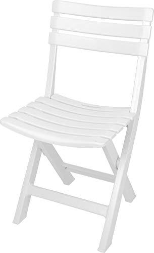 Spetebo Chaise pliante robuste en plastique - couleur - chaise de jardin chaise de bistro chaise de balcon chaise de camping Blanc.
