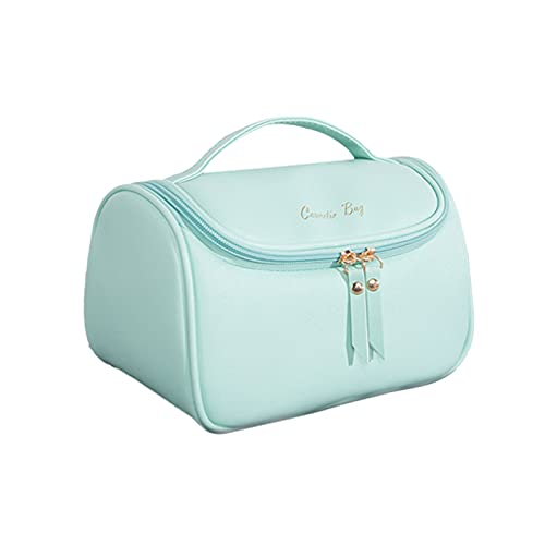"""Large Capacity PU Leather Makeup Bag, Portable Travel Cosmetic Bag Multifunction Storage Pouch Brushes Holder Beauty Zipper Organizer Toiletry Bag for Women and Girls, 9.45"""" x 5.5"""" x 6.3"""" (Green)"""
