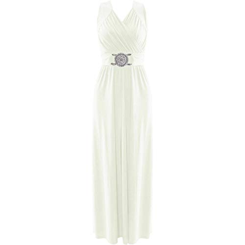Damen Maxi-Kleid, langes Brautjungefernkleid mit Schnalle, Kleid für formelle Anlässe, Ball, Party, Cocktailparty, Abendkleid Gr. Small, cremefarben