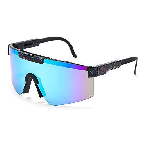 SXRAI Gafas de sol para mujer con marco azul y lentes espejadas a prueba de viento para hombre y mujer Uv400, C7