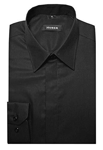 HUBER Kentkragenhemd mit verdeckter Knopfleiste schwarz 3XL