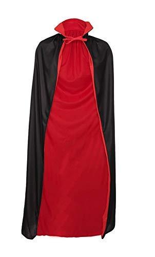Capa roja y negra – Reversible – Drácula – Vampiro – Disfraz – Accesorios – Cosplay – Adultos – Hombre – Mujer – Unisex – 135 cm – Idea regalo – Halloween – Carnaval