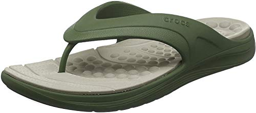 Crocs Reviva Flip, Infradito Unisex-Adulto, Verde (Army Green/Cobblestone 3tq), 39 EU