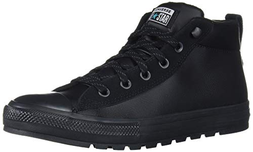 Converse Chuck Taylor All Star Leather Street Mid Top Sneaker, Black/Black/White, 9.5 M US