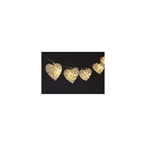 AC-Déco Guirlande d'intérieur - 10 Coeurs ou étoiles rotin - Blanc Chaud - 1m35