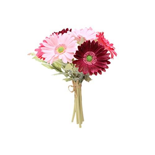 LIOOBO 7 unidades de gerbera artificiales, estilo europeo, margaritas africanas, simulación de flores, joyas, decoración para el hogar, bodas, color burdeos y rosa
