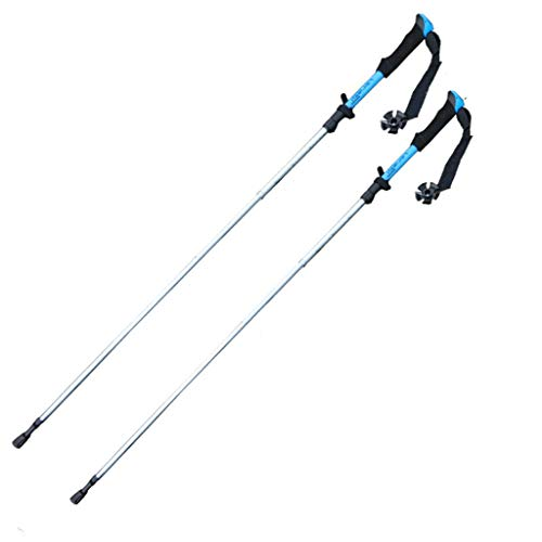 ME- Pôle de randonnée, pôle de Verrouillage extérieur en Alliage d'Aluminium, pôle de randonnée Pliant Ultra-Portable (Couleur : Bleu)