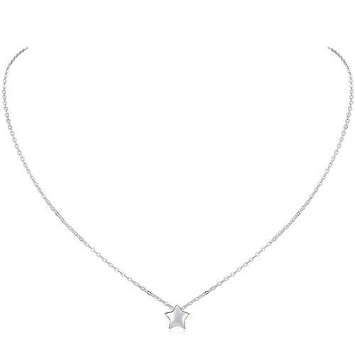 ChicSilver Estrella Colgante Pequeño Plata de Ley 925 Platino Collar Cadena Eslabones Redondos Rolo...