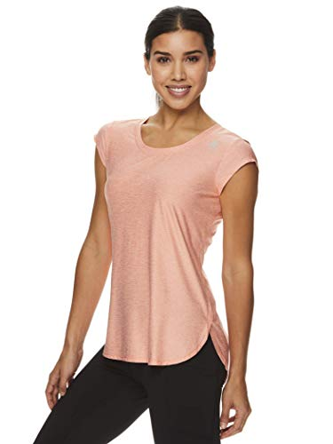 Reebok Women's Legend Running & Gym T-Shirt - Performance Short Sleeve Workout Clothes for Women - Fusion Coral Heather Legend Orange, Small