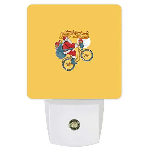 Plug-in LED Night Light -Christmas Santa Claus Riding a Bike Yellow,Smart Dusk to Dawn Sensor Night Lamp for Bedroom Kids Room Nursery Hallway Stairs Kitchen Wall Decoration