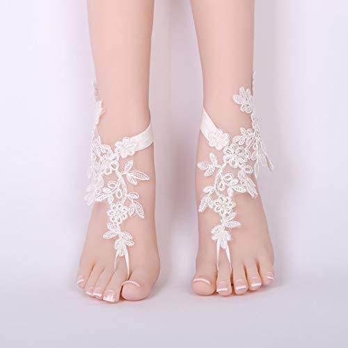 YUMUYMEY Füße Brautperlenschmuck Handgemachtes verzieren Fußbekleidung-Fußkettchen (Color : White)