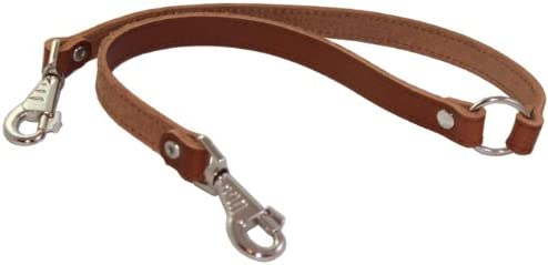 Genuine Leather Double Dog Leash Two Dog Coupler Brown Large 16 L x 7 8 W product image