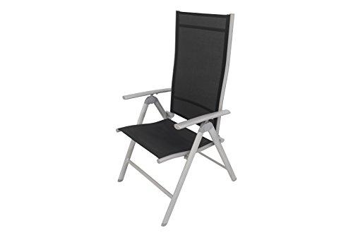 VILLANA Hochlehner, Klappsessel von VILLANA in edlem schwarz, starkes Aluminiumgestell, Sitzfläche aus hochwertigem Kunststoffgewebe, 67 x 58 x 113 cm, 7-stufig verstellbare Rückenlehne, wetterfest