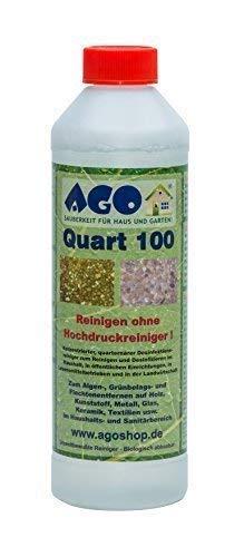 AGO Quart 100 Concentré de haute Gruenbelagentferner 500ml concentré. Contre Algues, Lichens et autres Revêtement de sol vert. Biodégradable, Chlore et Sans acide
