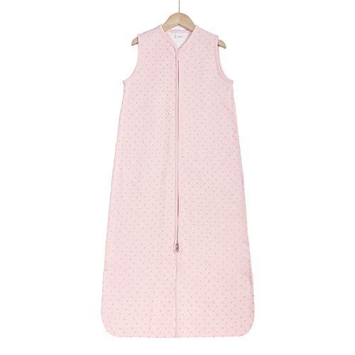 Taobeibei Baby-Schlafsack, 1,0 Tog, für Neugeborene, aus Baumwolle, Schlafsack für Kleinkinder, Jungen und Mädchen, 0 bis 4 Monate, mit verstellbarer Länge von 50–62 cm (Pink Fox)