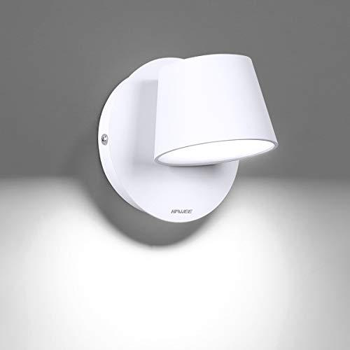 HAWEE Moderno Lámpara de Pared LED Luz de Lectura de Pared Giratoria de 350° Estilo Nórdico Focos de Pared LED Luz de Pared para Dormitorio Sala de Estar Pasillo Escaleras, Blanco 6000K