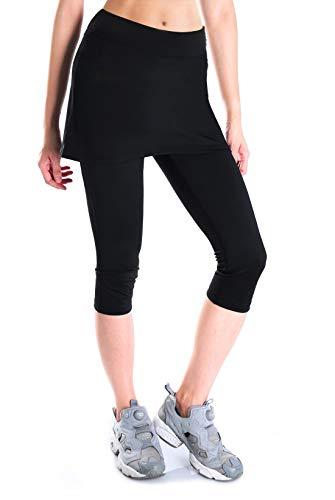 Yogipace Women's UV Protective Capri Leggings with Skirt, Running Skirted Capri, Active Skort with Golf Tennis Ball Pockets, Black, M