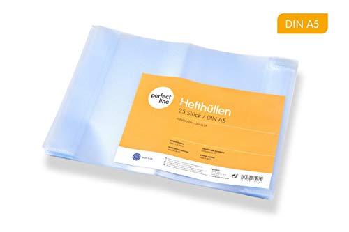 perfect line 25 Cubiertas transparentes para cuadernos DIN-A5 (espesor del material 0,09 mm), flexible y lavable, cubierta para cuadernos con encuadernación, funda protectora plastico forro de escuela