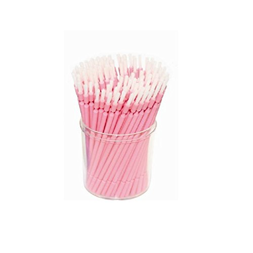 100 Pieces Disposable Bendable Ultrafine Micro Brush Flexible Suitable for Dental Work and Makeup Eyelash Extension Graft Application (Pink)