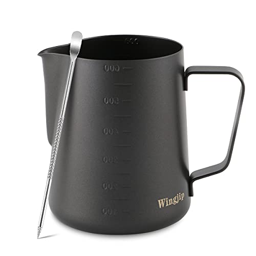 Wingjip Espresso Milk Frothing Pitcher 20oz with Latte Art Pen, Steaming Pitchers Liquid Measurement Cup 20oz (600ml) Coffee Maker Accessories,Black Finish