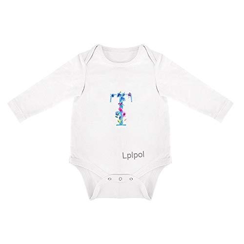 Lplpol Azul Monograma Iniciales Bebé Algodón Blanco Manga Larga Mono Mono para Unisex Bebé Niños Niñas Fav001 - - 3-6 meses