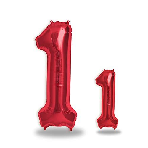 """FUNXGO® Folienballon Zahl in Rot 2 Stück – 40"""" + 16""""- Riesenzahl und kleine Ballons Folienballons für Luft und Helium als Geburtstag, Hochzeit , Jubiläum oder Fest , Party Dekoration (Rot[ 1 ])"""