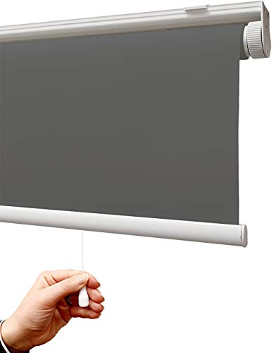 Estor Auto-Enrollable traslúcido Premium/SIN Cadena (Desde 45 hasta 220cm de Ancho/Permite Paso de luz, no Permite Ver el Exterior/Interior). Color Gris Oscuro. Medida 45x50cm.