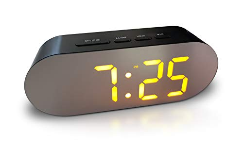 Digital Alarm Clock - Mains Powered, Big Digit Mirror Display, No Frills...