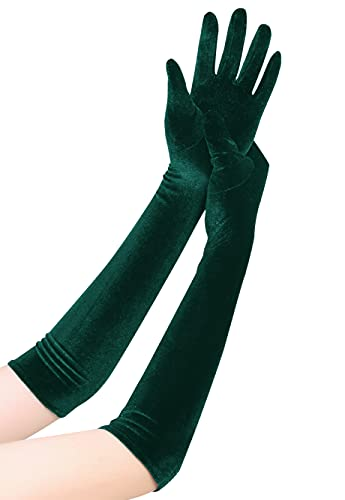 EORUBE Long Opera Gloves for Women Velvet Gloves 1920s Flapper Stretchy Elbow Length Halloween Costume Gloves (Dark Green)