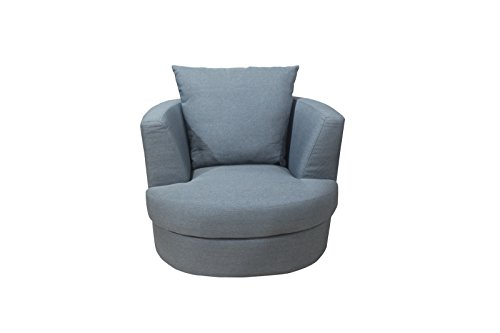 LPD Bliss Snug Swivel Chairs - Large or Small - Silver Crushed Velvet, Grey Linen(Grey Small)