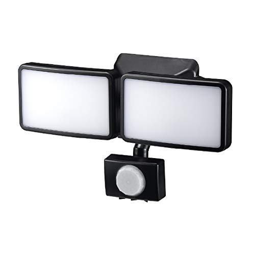 ヤザワ LEDセンサーライト 乾電池式 防雨タイプ 調光タイプ 6W白色LED×2灯 リモコン付 SLR3LEB2