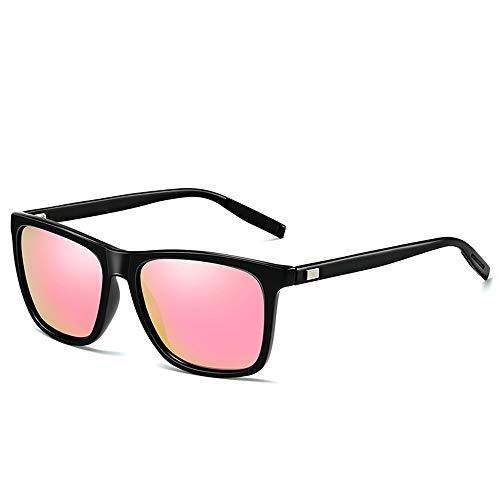 LCSD Gafas de sol para hombre polarizadas de aluminio magnesio marco negro equitación mujer protección UV400 (color gris)