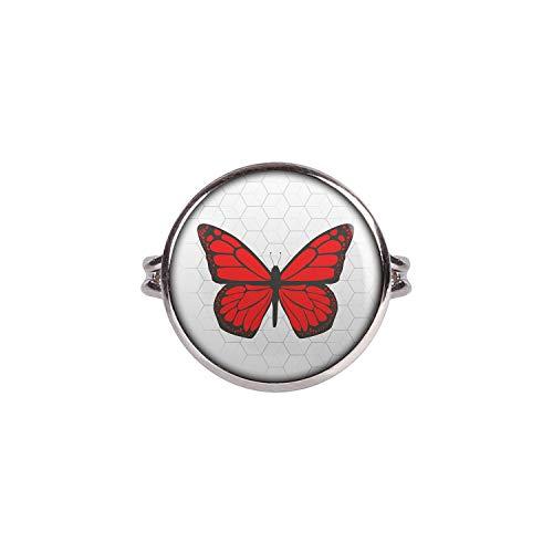 Mylery Ring mit Motiv Schmetterling Rot Silber 16mm