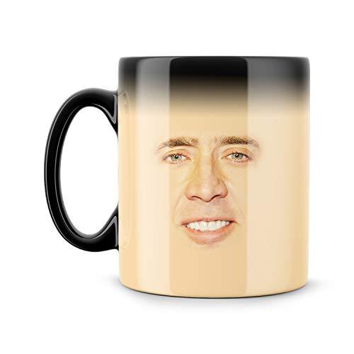 Taza mágica Nicolás Cage con cara espeluznante Meme divertido Geek Nerd color cambiante taza Nicolas Cage Fan Regalo Nic Cage Secret Santa Creepy Regalo Regalo