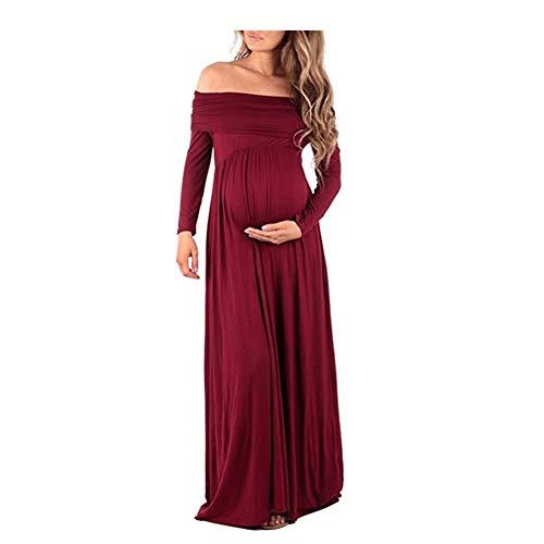 Vrouwen met capuchon Solid lange mouwen woord schouder Revers hoge taille rok zwangere vrouwen Block Pull-up (Color : Claret, Size : L)